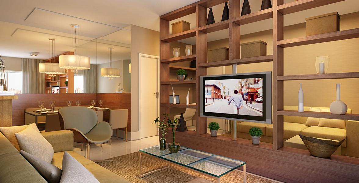 LIVING AMPLIADO do apto de 69 m² com sugestão de ótima estante que possibilita girar a TV, assim a sua Sala de TV pode ser onde você achar mais adequado no momento do Reserva do Alto