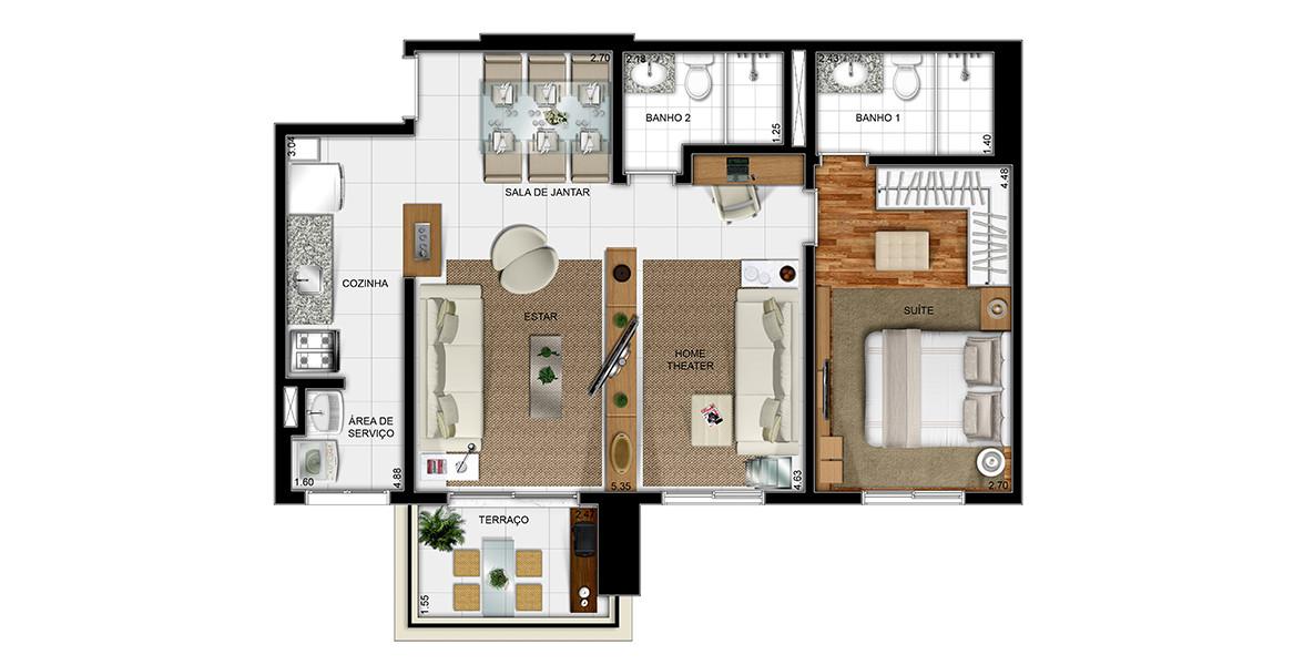 Planta do Reserva do Alto. 69 M² - 1 SUÍTE. Apartamento em Barueri com living ampliado, cozinha americana e terraço com ponto grill.