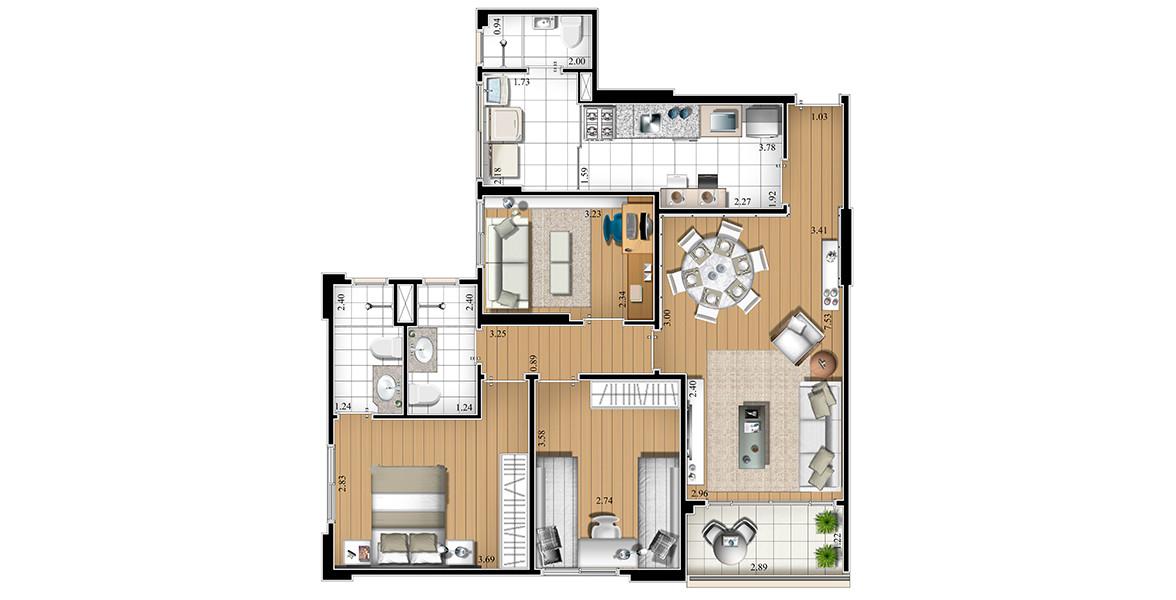 84 M² - 3 DORMS., SENDO 1 SUÍTE. Apartamento na Mooca com 3 dormitórios, nesse exemplo o 3º dormitório está decorado como sala de estudos, para apresentar mais opções a você. Tem um bom living que pode ser integrado à cozinha com uma cozinha americana.