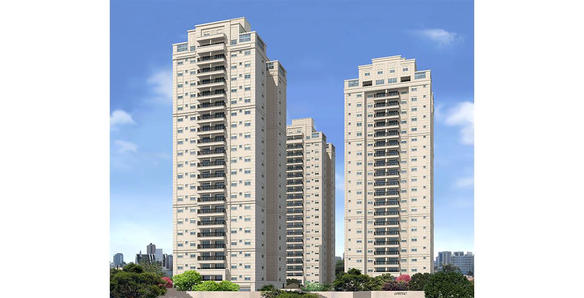 FACHADA das torres arquitetura neoclássica e com 22 andares, já considerando as coberturas duplex.