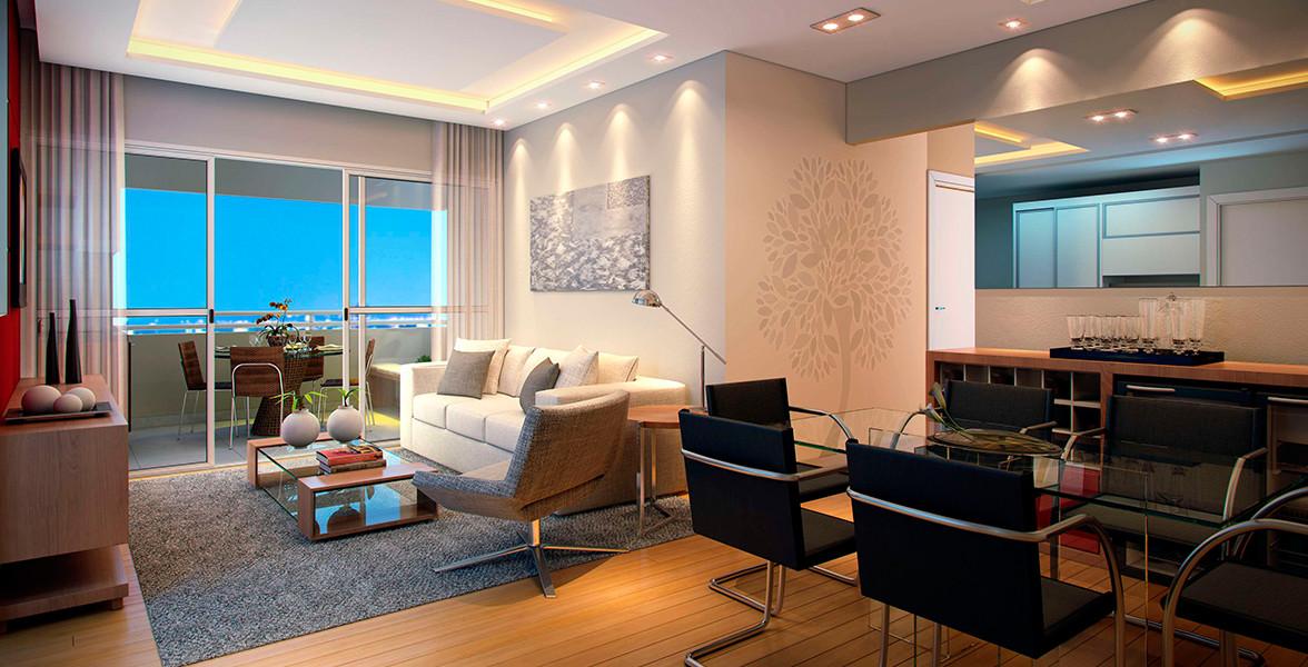 LIVING integrado à varanda por amplas portas de vidro, possibilitando maior entrada de luz e consequente economia energética do Gama Santana