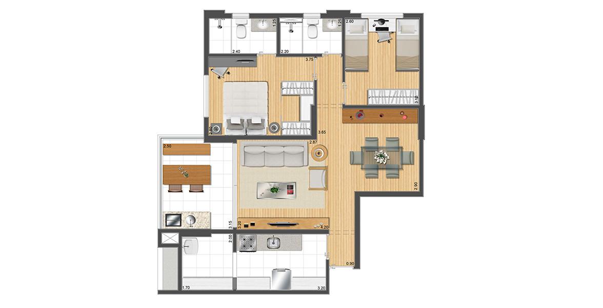 Planta do Gama Santana. 76 M² - 2 DORMS., SENDO 1 SUÍTE. Apartamento em Santana com 2 dormitórios e 2 banheiros ventilados naturalmente, tem excelente integração com a varanda devido às amplas portas de vidro de ponta a ponta.