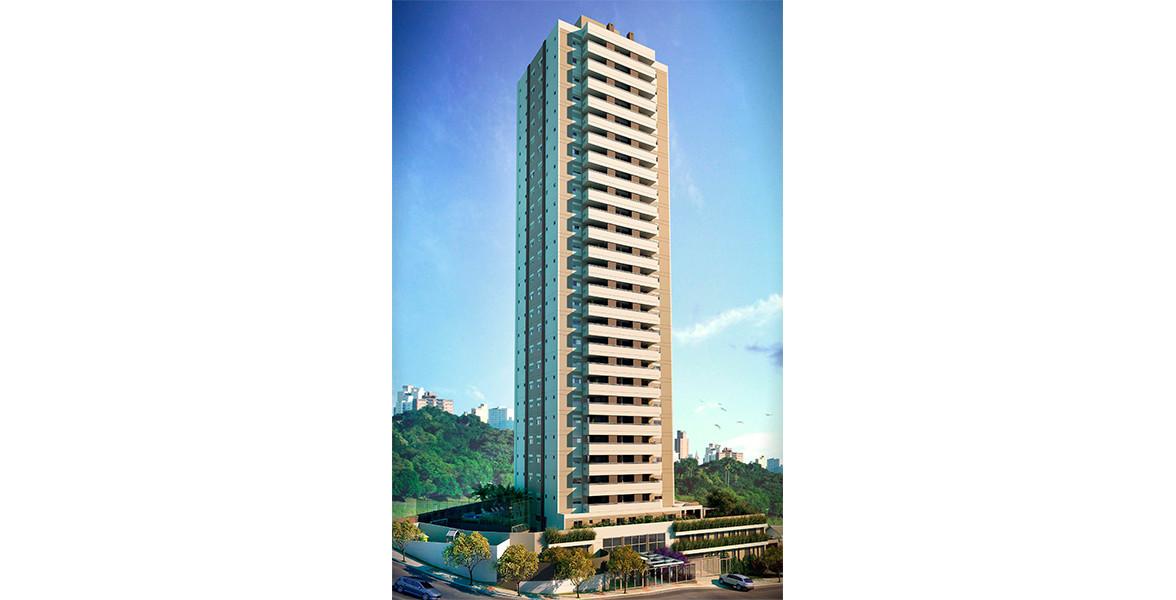 FACHADA da única torre com 25 andares, além de 3 subsolos.