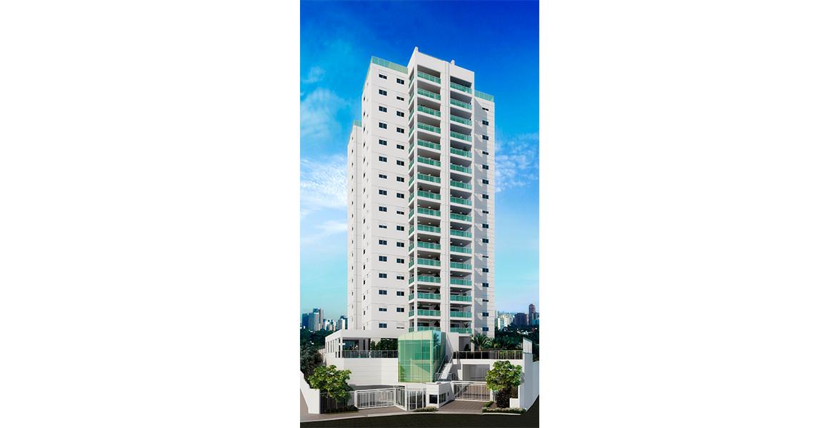 FACHADA da única torre, tem estilo contemporâneo e 16 andares.