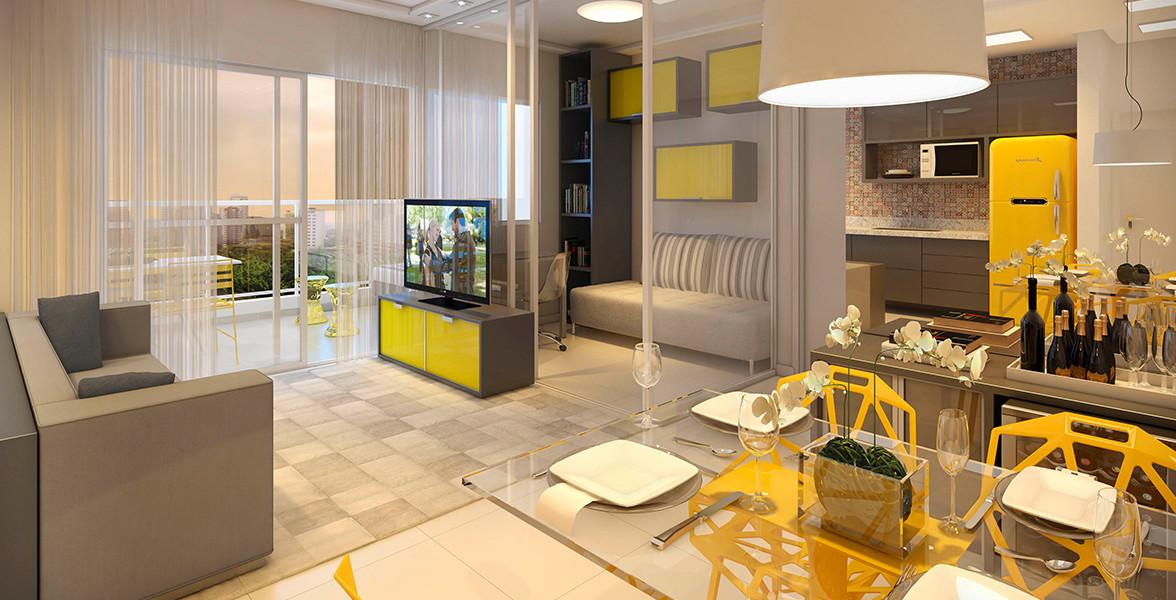 LIVING AMPLIADO do apto de 60 m² com quarto multiuso, que pode ser um dormitório ou uma Sala de TV do It's 163