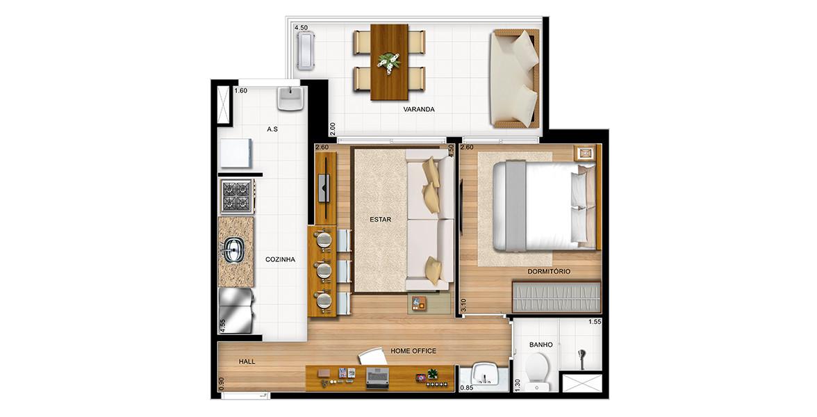 Planta do It's 163. 46 M² - 1 DORM. Apartamento no Panamby com cozinha americana, um dormitório fechado para quem prefere maior privacidade e cuba externa, proporcionando maior praticidade no dia a dia.