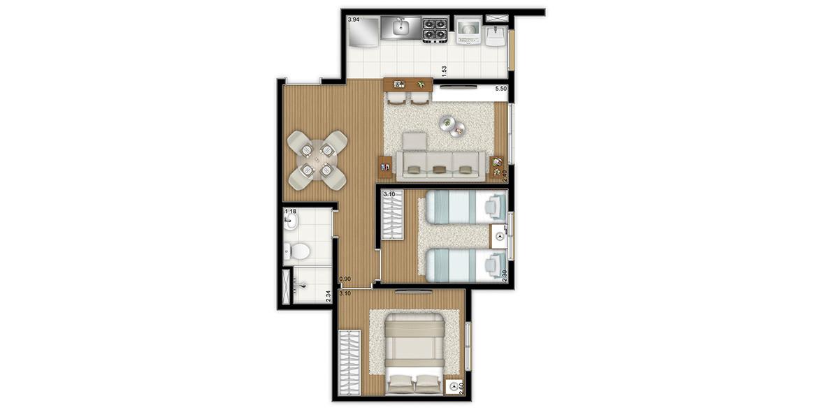 46 M² - 2 DORMS. Apartamento em Osasco para famílias com até 2 filhos, tem cozinha americana e espaços internos bem aproveitados. É o menor preço do Flex Osasco II.