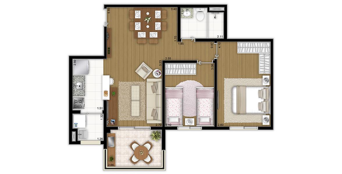 Planta do Flex Guarulhos. 60 M² - 2 DORMS. Apartamento em Guarulhos com dormitório de casal com boa área para armário. Tem cozinha americana, trazendo-a para a área social.
