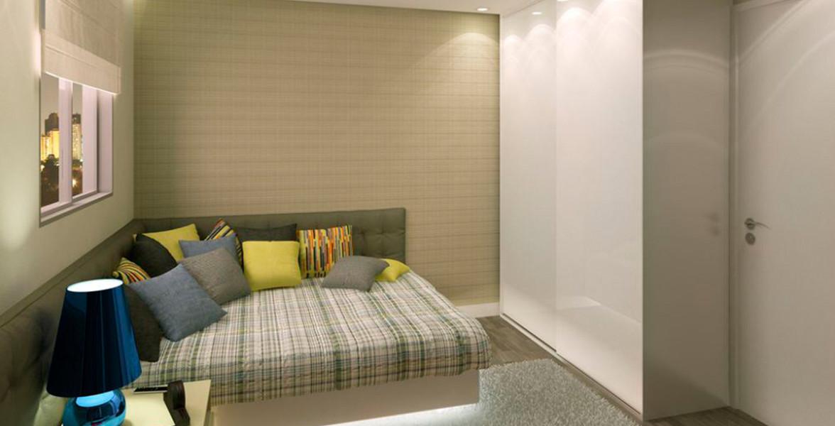 DORMITÓRIO do apto de 38 m² com ampla janela com persiana de enrolar.