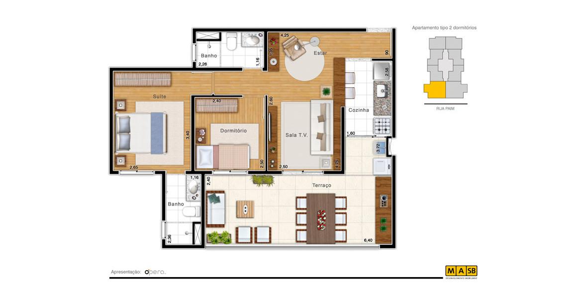 64 M² - 2 DORMS., SENDO 1 SUÍTE. Apto na Bela Vista com 2 dormitórios, uma planta mais família. O living pode ser ampliado, ocupando o espaço do 2º dormitório, deixando o apto com excelente área social. O amplo terraço tem mais de 6 metros de frente.