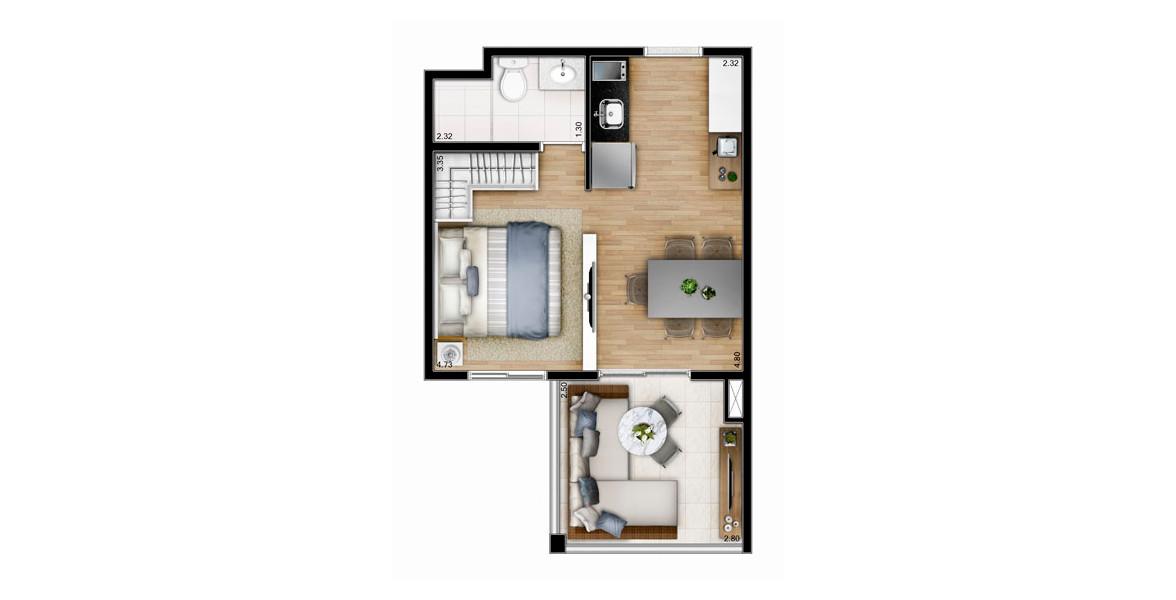 Planta do You, Now Chácara Santo Antônio. 32 M² - STUDIO. Apartamento na Chácara Santo Antônio com característica Studio, com todos os ambientes integrados. Tem uma boa varanda em L, que você pode usá-la como Sala de Estar (ou não).