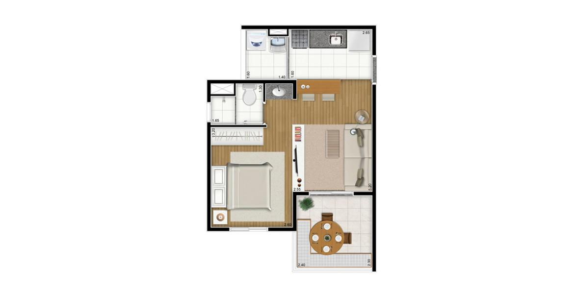 Planta do You, Newtown. 36 M² - STUDIO. Apartamento na Santa Cecília todo integrado com cozinha americana e banheiro com cuba externa, proporcionando maior praticidade. É um Studio com ambientes visualmente bem determinados, deixando a planta mais organizada.