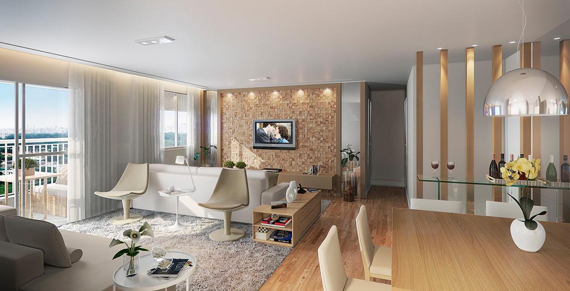 LIVING AMPLIADO do apto de 98 m² com mais de 5 metros de boca de sala do You, Jardim Casa Verde