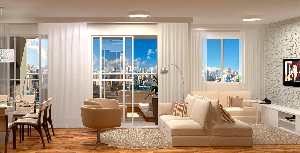 LIVING AMPLIADO do apto de 98 m² com ótima integração em 2 pontos, proporcionando maior entrada de luz do You, Ibirapuera