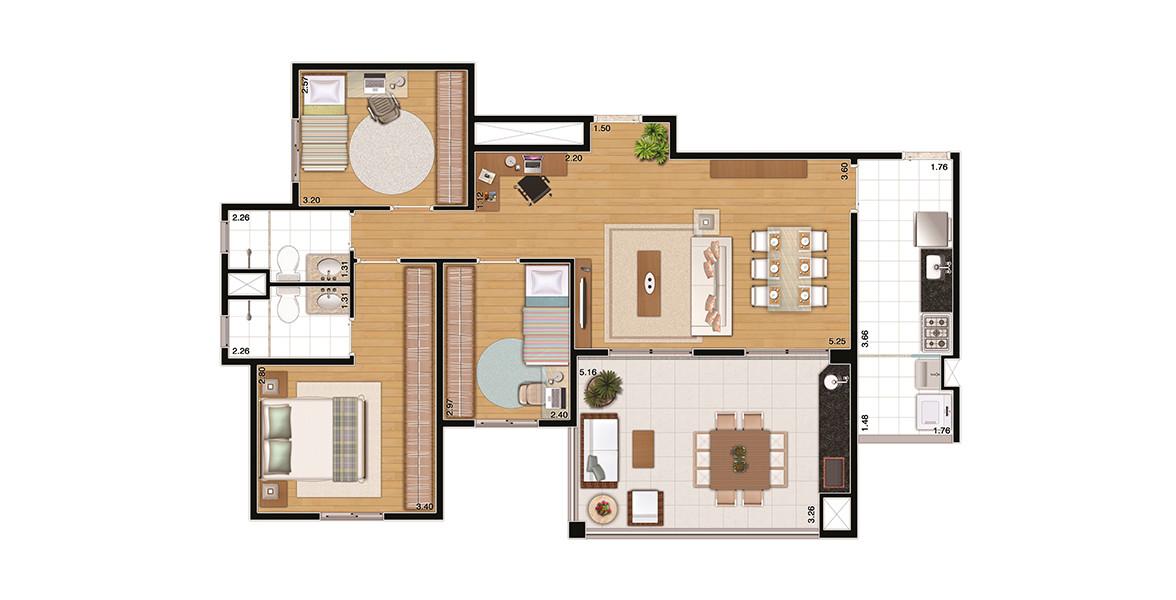 Planta do You, Ibirapuera. 98 M² - 3 DORMS., SENDO 1 SUÍTE. Apartamento com 3 dormitórios bem generosos, todos com janelas com persianas de enrolar e amplas áreas para armário. Tem living com mais de 5 metros de boca de sala, integrado ao terraço gourmet com churrasqueira.