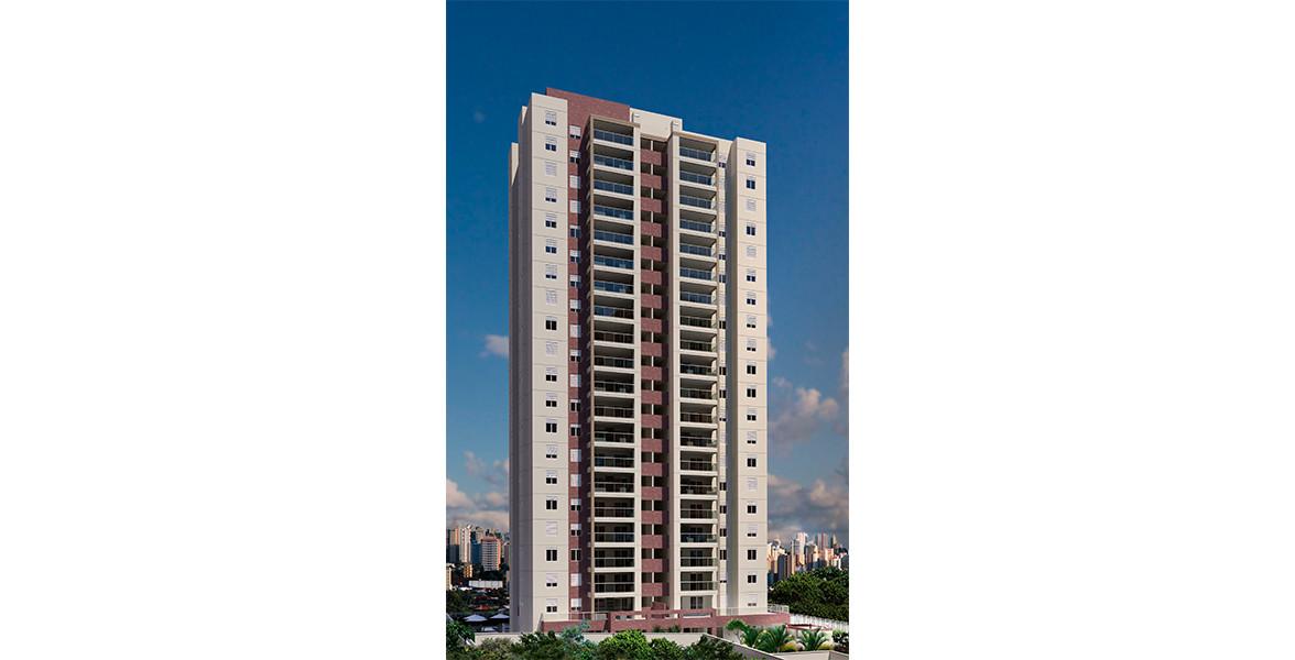 FACHADA da única torre, estilo contemporânea, com 20 andares, além de 2 subsolos.