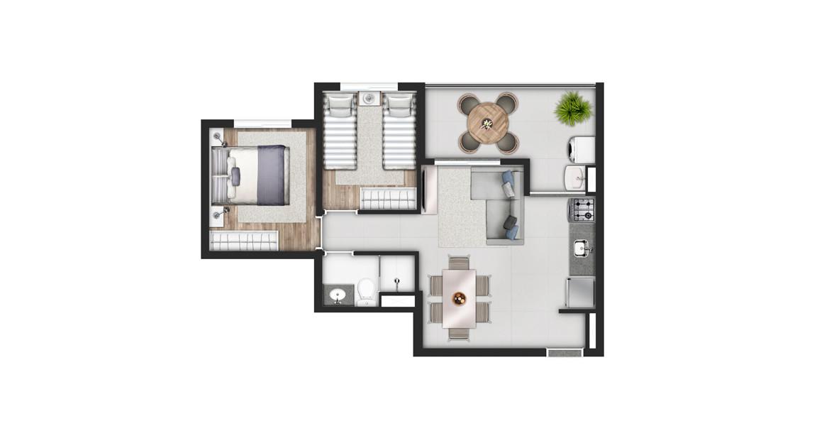 51 M² - 2 DORMS. Apartamento em Pinheiros com living ampliado integrado à boa varanda com 4 metros de frente e passagem direta para a cozinha.