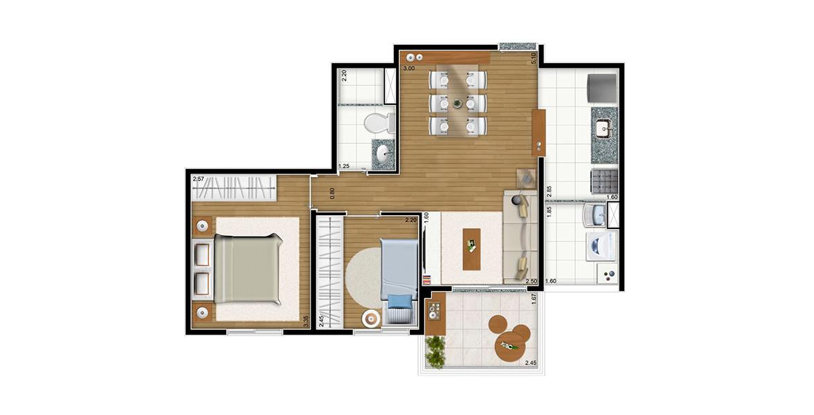 50 M² - 2 DORMS. Apartamento na Parada Inglesa de 2 dormitórios com amplo living, integrado à varanda em L e à cozinha - um ótimo espaço para receber bem.