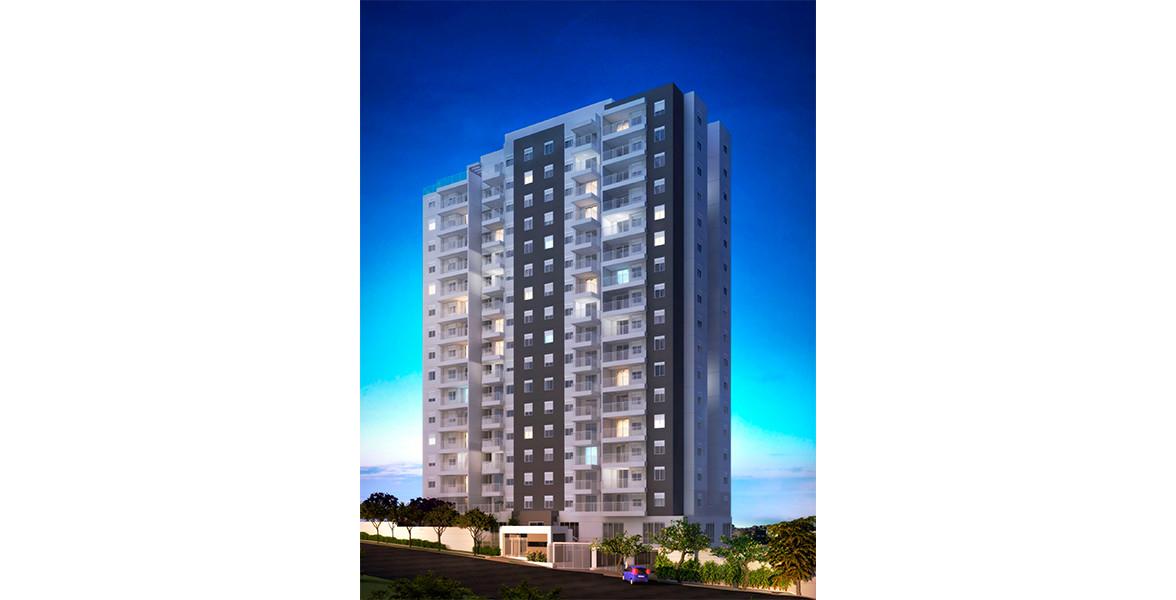 FACHADA com torre única com 16 andares, atendidos por 3 elevadores.