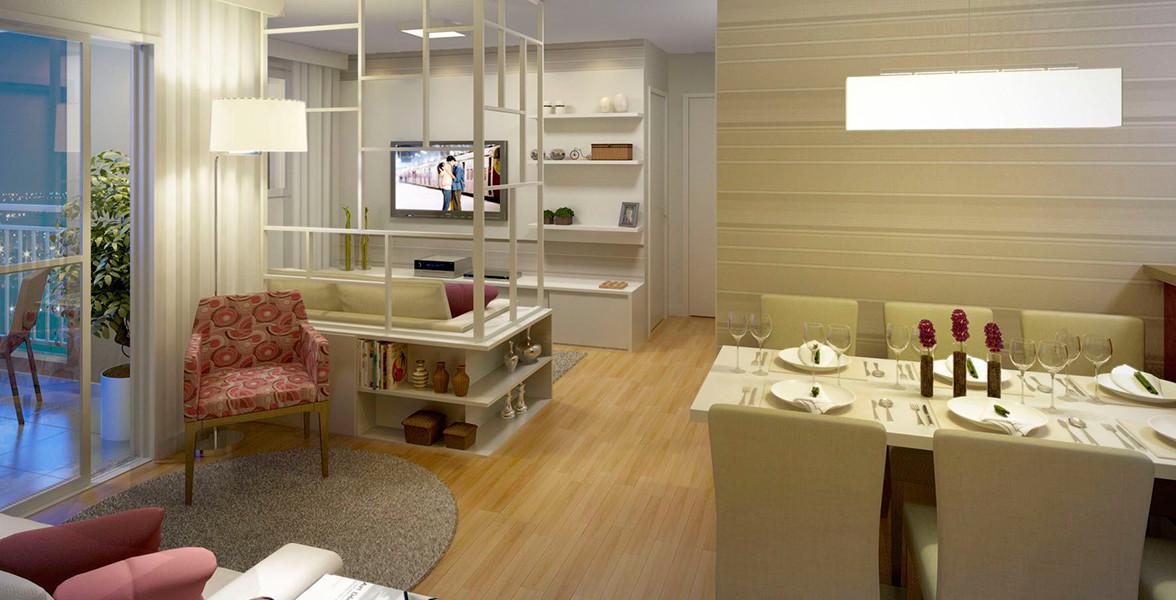 LIVING AMPLIADO do apto de 59 m² com 3 ótimos ambientes para receber bem do You, Vila Maria