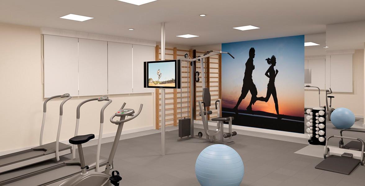 FITNESS com equipamentos de ginástica, musculação e pilates.