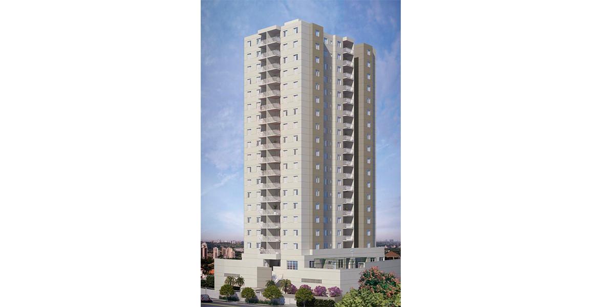 FACHADA da única torre com 17 andares e térreo elevado que proporcionará melhores vistas mesmo a partir dos andares mais baixos.