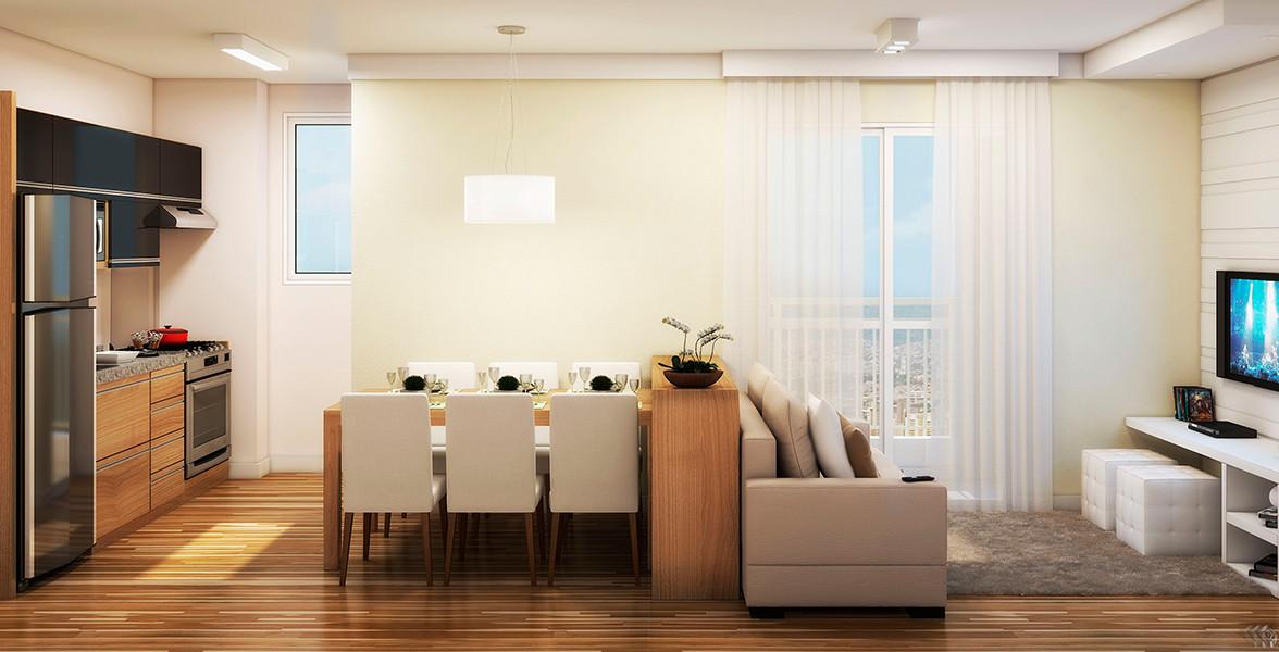 LIVING do apto de 58 m² totalmente integrado à cozinha e à varanda com mais de 4 metros de frente do You, Saúde Estações