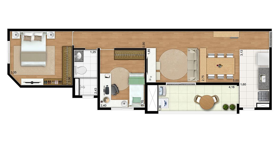 Planta do You, Saúde Estações. 58 M² - 2 DORMS. Apartamento na Saúde com cozinha integrada à sala e à varanda e tem um banheiro ventilado naturalmente que atende aos 2 dormitórios.