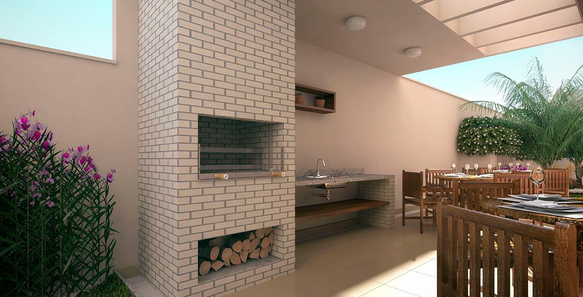 CHURRASQUEIRA de forno a lenha em espaço pergolado.