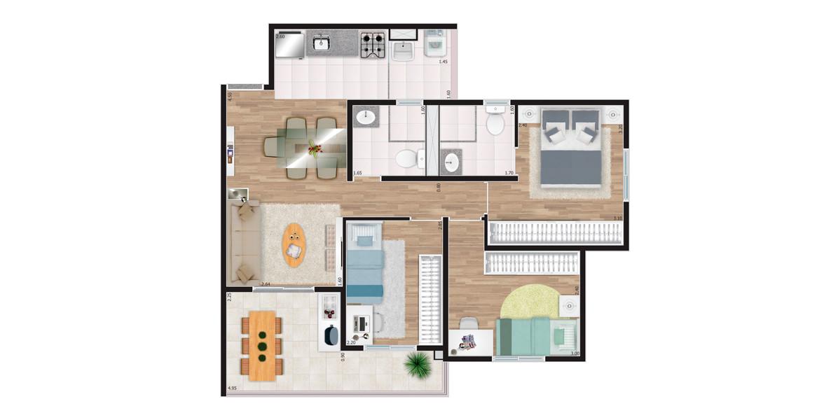 65 M² - 3 DORMS., SENDO 1 SUÍTE. Apartamento no Tucuruvi com 3 dormitórios para casais com até 2 filhos. Suíte é confortável e tem boa área para armário e banheiro ventilado naturalmente. Tanto no living quanto na varanda há espaço para mesa de 5 lugares.