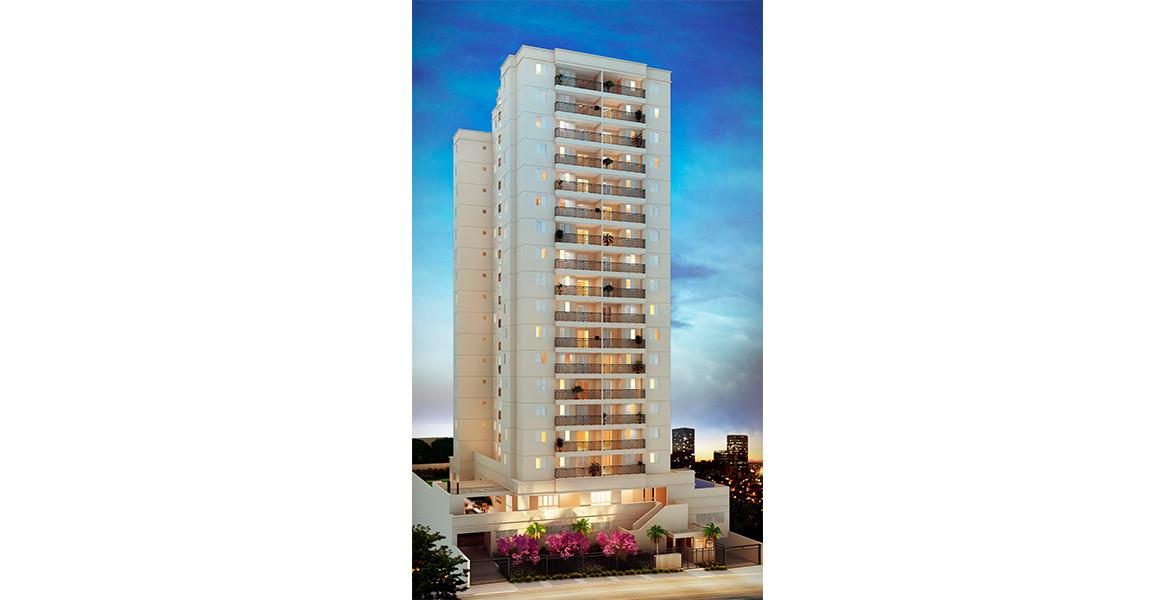 FACHADA da única torre com 16 andares, além de térreo elevado, que proporciona melhor desempenho acústico nos aptos.