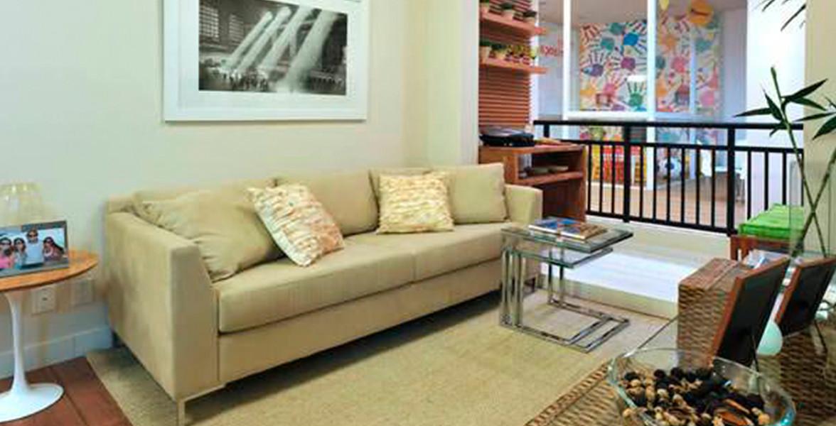 LIVING do apto de 48 m² com varanda integrada do Flex Carapicuíba 3