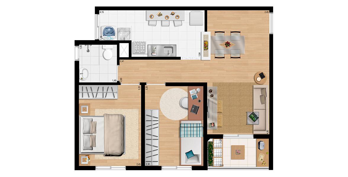 Planta do Flex Carapicuíba 3. 48 M² - 2 DORMS. Apartamento em Carapicuíba com 2 dormitórios, com varanda integrada à sala, cozinha americana e banheiro com ventilação e iluminação natural.