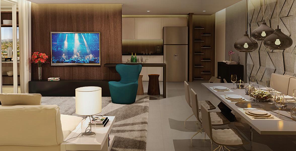 LIVING do apto de 60 m², mais moderno, foi pensado por Fernanda Marques para casais jovens que privilegiam conforto e agilidade do Atmosphere Guarulhos