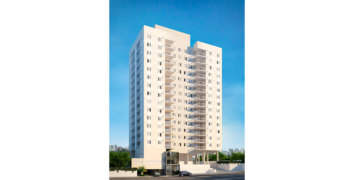 FACHADA com 14 andares além de um elegante térreo com alto pé-direito.