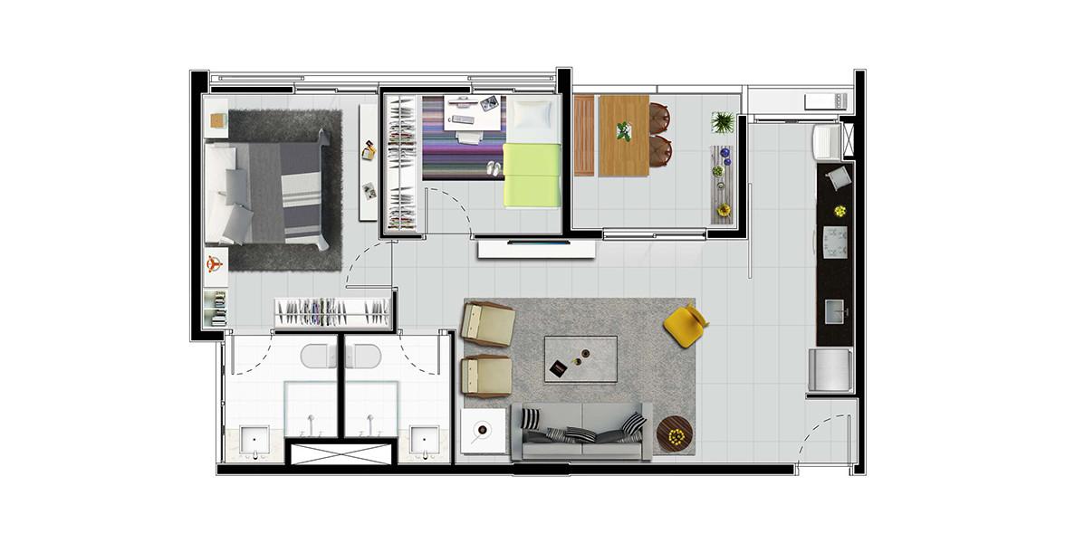 61 M² - 2 DORMS., SENDO 1 SUÍTE. Apartamento 2 dormitórios, ambos com amplas janelas e controle sobre os brises móveis. Sala totalmente integrada à cozinha e à varanda, proporciona um conforto muito agradável.