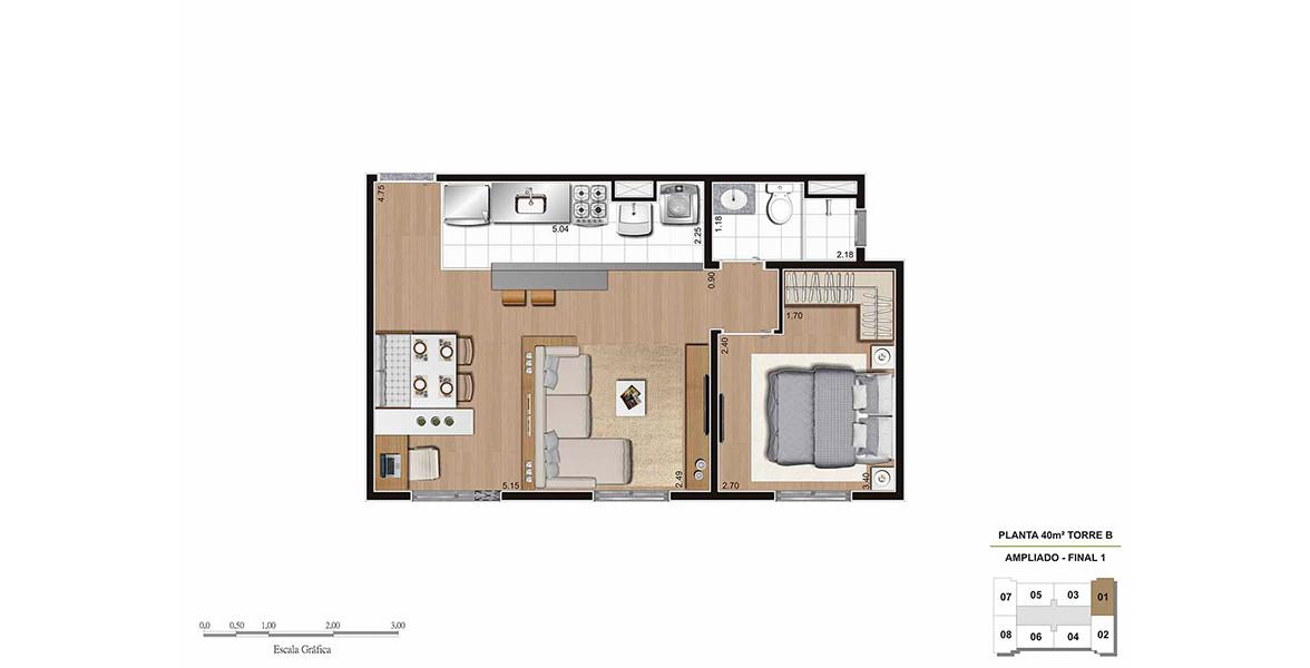 40 M² - 1 DORM. Apartamento no Bairro do Limão com sala ampliada e cozinha americana. Sem terraço para aproveitar da melhor forma os espaços internos. Tem banheiro com ventilação natural.