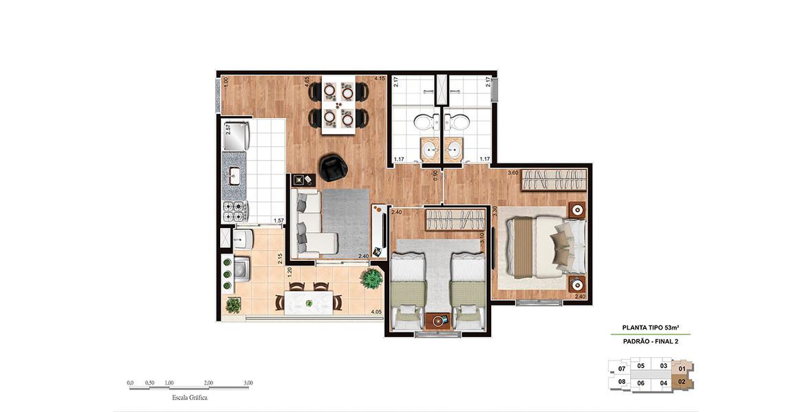 Planta do Mixer Home. 53 M² - 2 DORMS., SENDO 1 SUÍTE. Apartamento no Tucuruvi com 2 dormitórios para famílias com até 2 filhos. Tem suíte do casal com banheiro com ventilação natural e ótima varanda com 4 metros de frente.