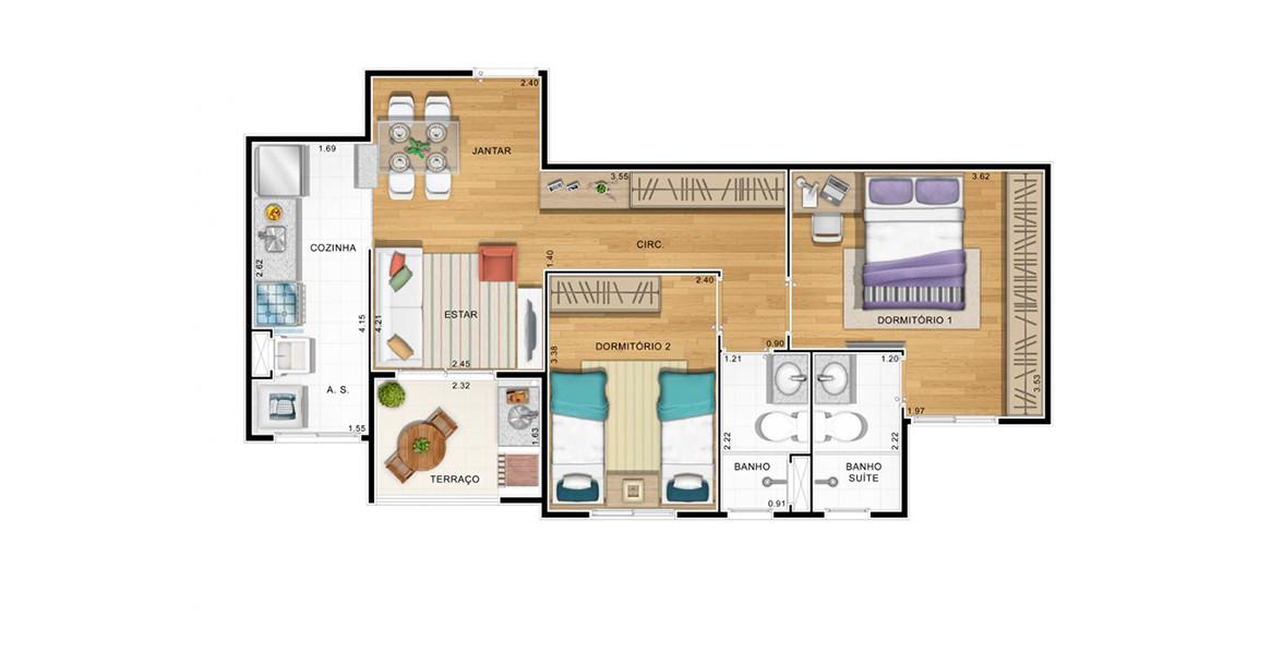 58 M² - 2 DORMS., SENDO 1 SUÍTE. Apartamento na Vila Mascote com 2 dormitórios, sendo uma ótima suíte com ampla área para armário. Tem varanda gourmet com churrasqueira. Preços atrativos!