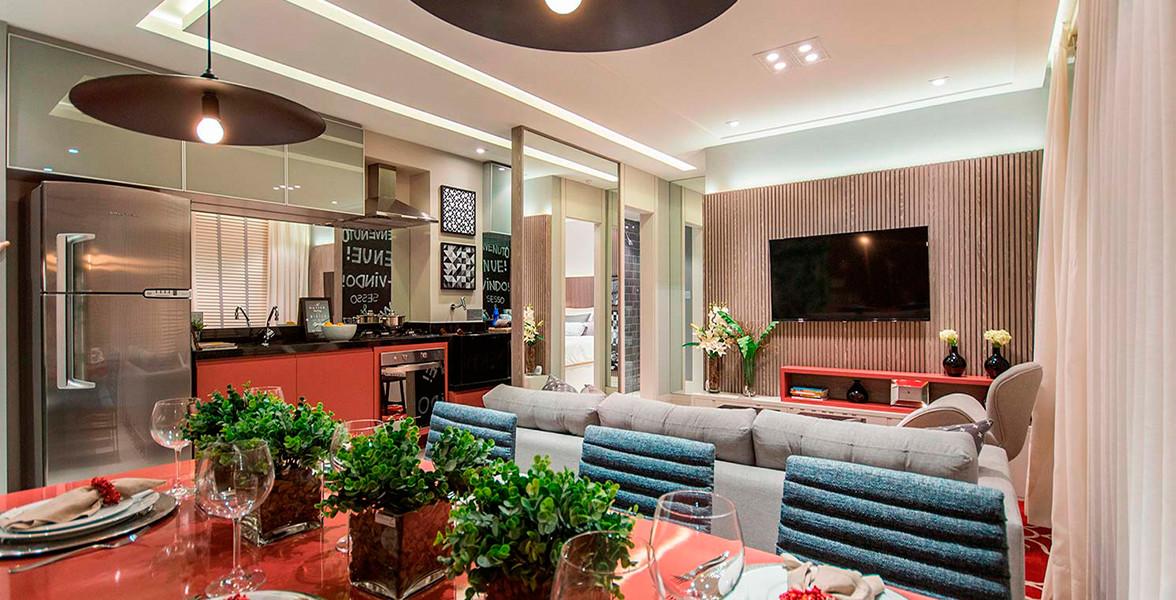 SALA com cozinha totalmente integrada.