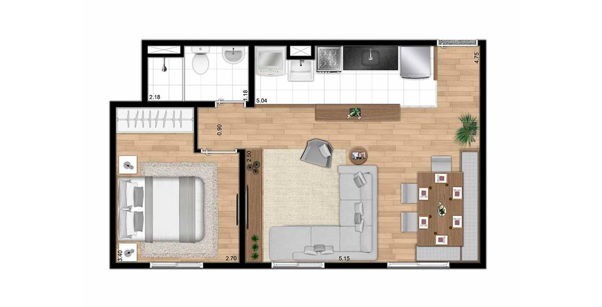 Planta do Smart Spaces. 1 DORM. Apartamento em Itaquera com sala ampliada e cozinha americana. Como a planta não tem terraço, consegue ter sala bem confortável.