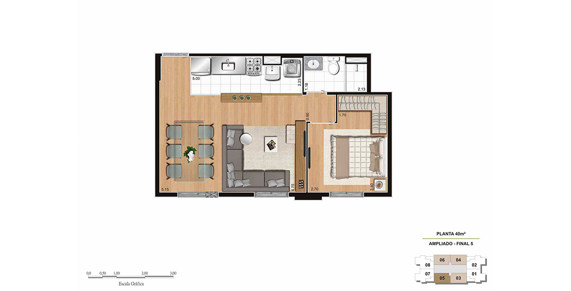 40 M² - 1 DORM. Apartamento no Bairro do Limão com sala ampliada e cozinha integrada. Sem terraço para aproveitar da melhor forma os espaços internos.