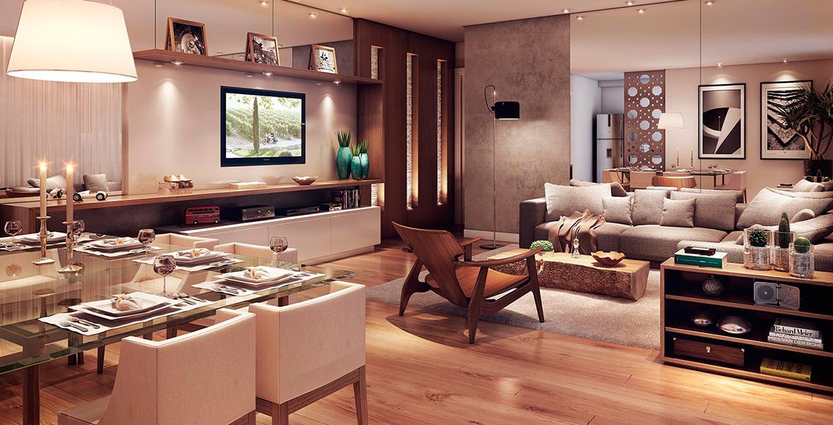 LIVING do apto de 47 m² com cozinha integrada, proporcionando uma ótima circulação interna.