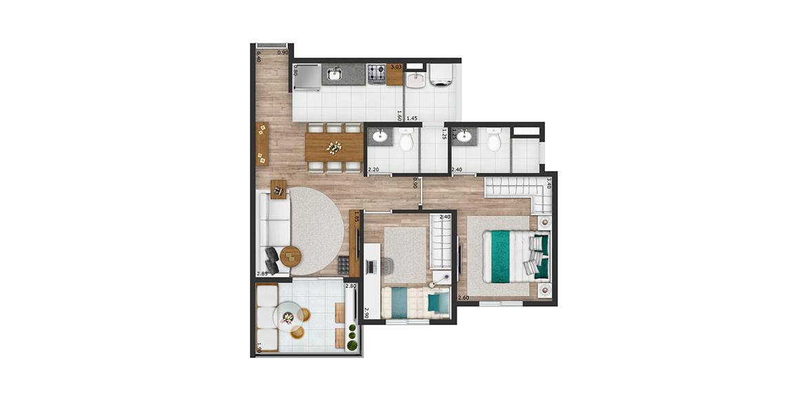 56 M² - 2 DORMS., SENDO 1 SUÍTE. Apartamento na Saúde com 2 dormitórios e 2 banheiros ventilados naturalmente. Tem uma boa varanda, a extensão natural da sala, muito útil ao receber.