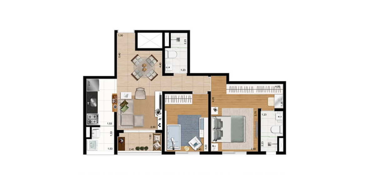 Planta do Wonder Morumbi. floorplan