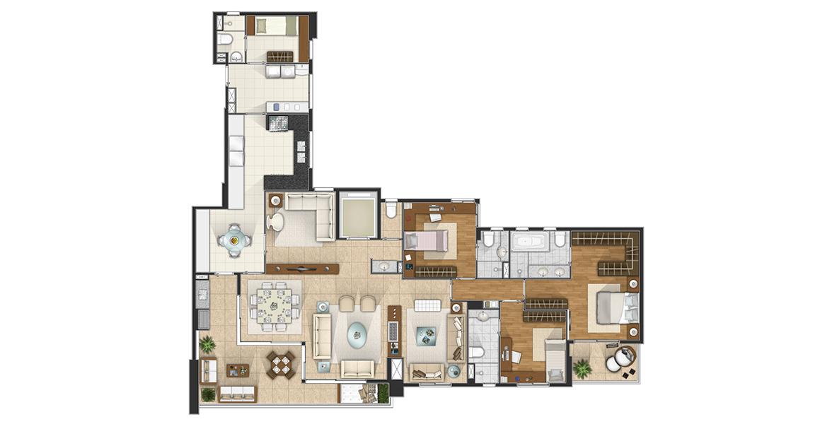 206 M² - 3 SUÍTES. Apartamento com 3 ótimas suítes, com destaque para a suíte master com terraço privativo, banheiro com cuba dupla e infra para hidro. O living tem excelente integração com o terraço gourmet com churrasqueira.
