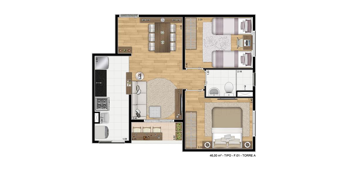 Planta do Max Clube Residencial. 46 M² - 2 DORMS. Apartamento em São Mateus com 2 dormitórios, banheiro com ventilação natural e varanda. É uma ótima planta, que não perde espaços com corredor.