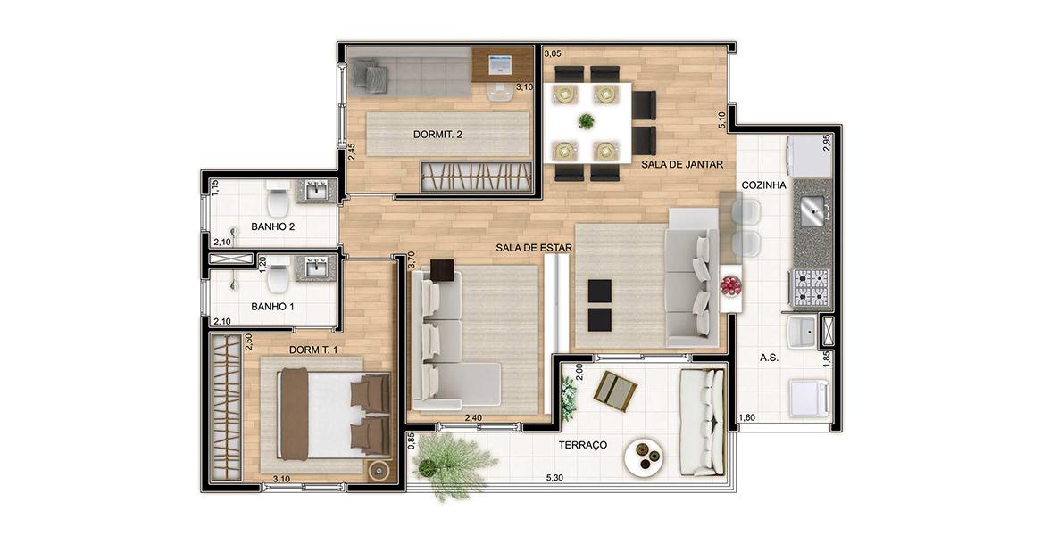 Planta do Harmonia. 70 M² - 2 DORMS., SENDO 1 SUÍTE. Apartamento em Cotia com 2 dormitórios e uma suíte para o casal. A sala foi ampliada, substituindo o Dormitório 3 por uma confortável Sala de TV.