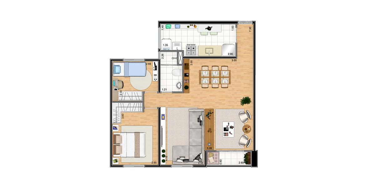 Planta do Natur. 64 M² - 2 DORMS. Apartamento no Aricanduva com sala ampliada, conta com área social com 3 ambientes: Estar, Jantar e TV, com apoio da varanda. O banheiro tem ventilação natural.