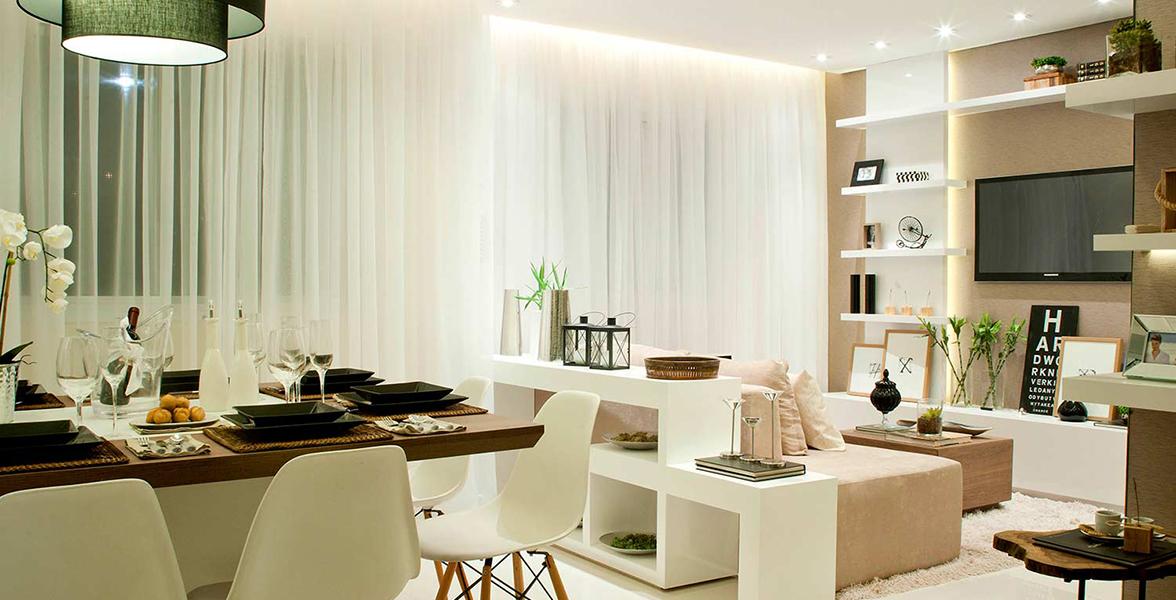 SALA AMPLIADA do apto de 43 m² com boa área de circulação, sem apertos.